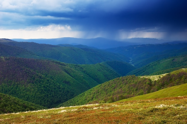 Spring landscape. rainy day. stormy sky in the mountains