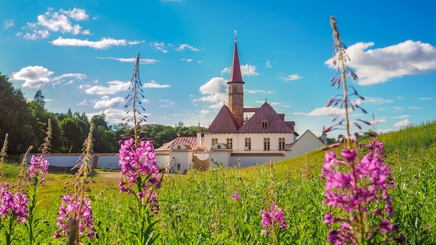 Spring landscape with an ancient palace. gatchina. russia.