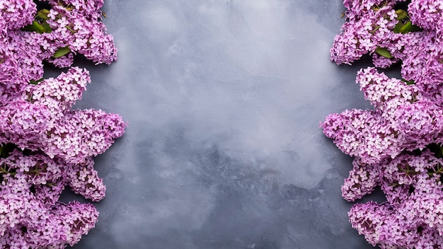 Spring lilac flowers on grey background with frame for text. banner