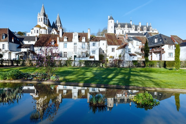 The spring lovely public park in loches town (france)