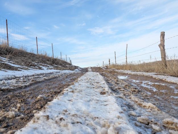 Весной тающий снег, грунтовая дорога, лужи и слякоть. слякоть.