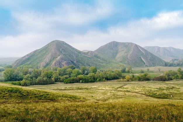 봄 산 풍경 andreevka orenburg 마을 근처 long 및 sergeevskaya 산의 전망