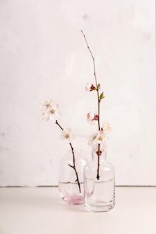 枝に白い花を持つミニマルな春の中立的な光
