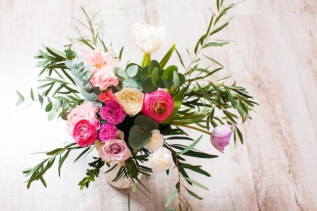 봄 핑크 꽃다발