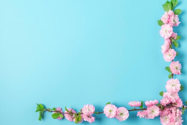 青の背景に春のピンクの桜の枝。フラットレイ。上面図。コピースペースのある休日や結婚式のレイアウト