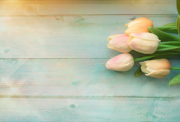 Spring pink tulips flower on wood