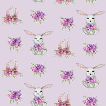 春うさぎのシームレスパターン、、かわいい動物のスクラップブック紙