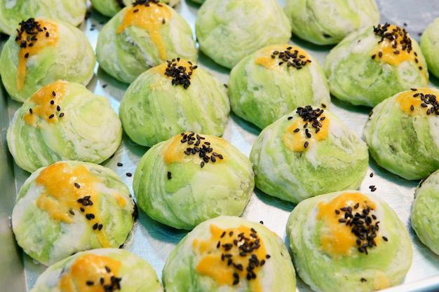 Spring roll pastry moon cake with nuts, mung bean & egg cake