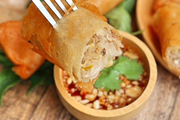 Spring roll with dipping sauce