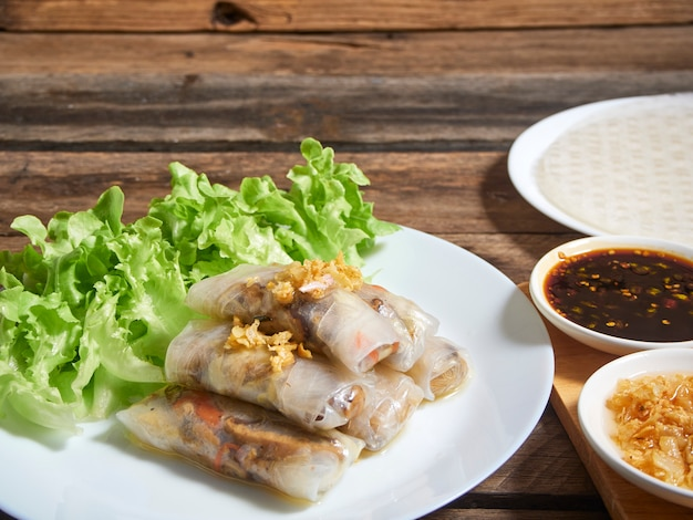 Spring rolls and rice paper.