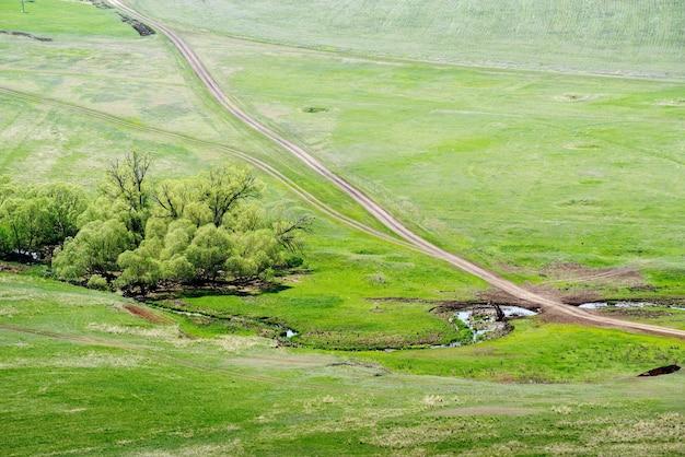 Voskresenovkaオレンブルク村の近くの田舎道横断ストリームと春の田園風景