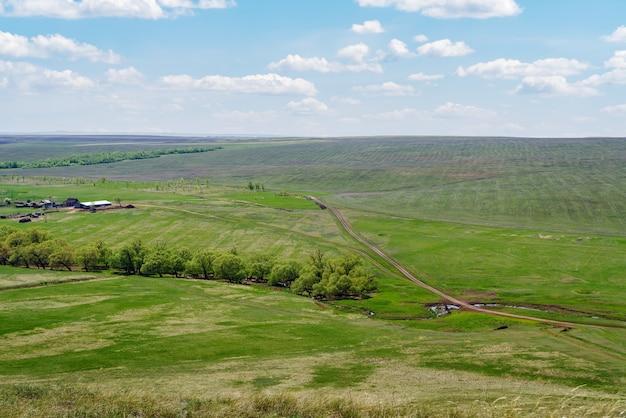 러시아 보스크레세노프카 마을 근처의 농경지와 시골길이 있는 봄의 시골 풍경