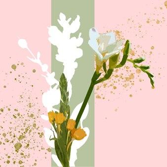春の雰囲気。美しい色のファンタジーの花の花の水彩イラスト。広告用のコピースペースを備えたモダンな幾何学的なスプラッシュデザイン。春、結婚式、母の、女性の日の挨拶のカード。