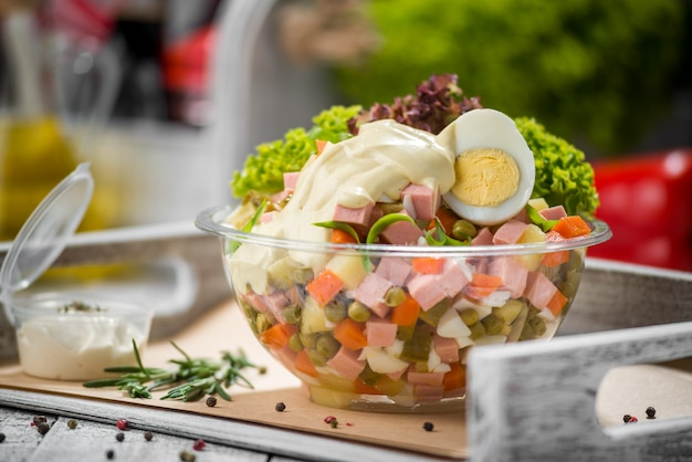 Spring salad with spinach,egg,ham