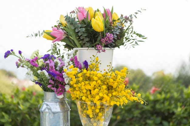 Spring scene with different vases