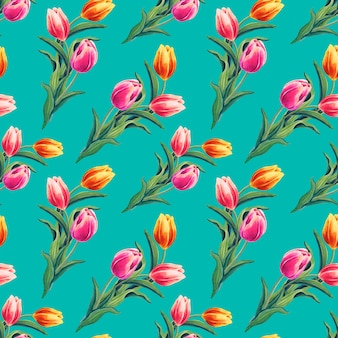 黄色、赤、ピンクのチューリップと春のシームレスなパターン。エメラルドの背景の花。