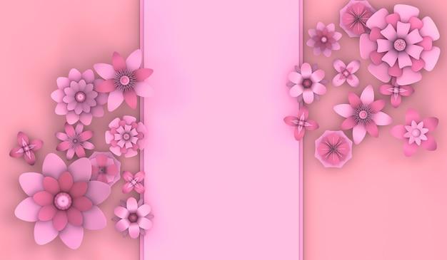 복사 공간 3d 일러스트와 함께 봄 시즌 꽃 배경