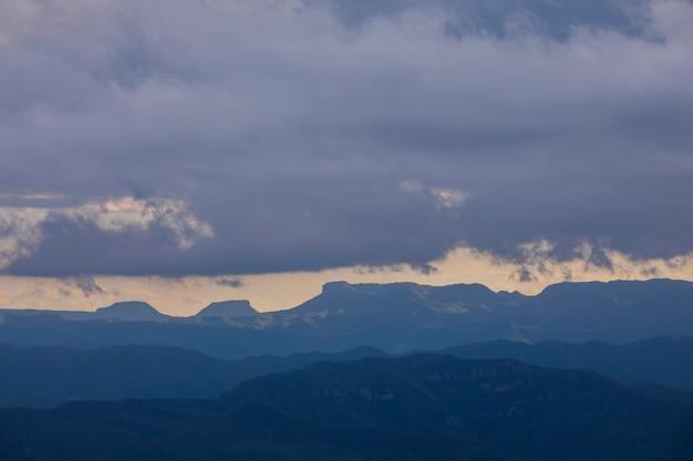 Spring sunset in santuari mare de deu del mont peak, la garrotxa, spain.