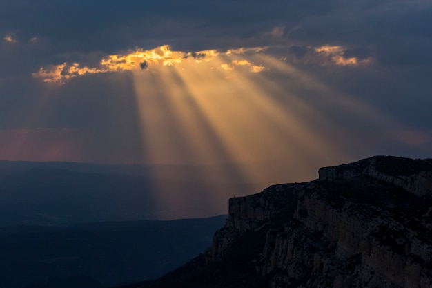Spring sunset in serra del montsec, lleida, pyrenees, spain