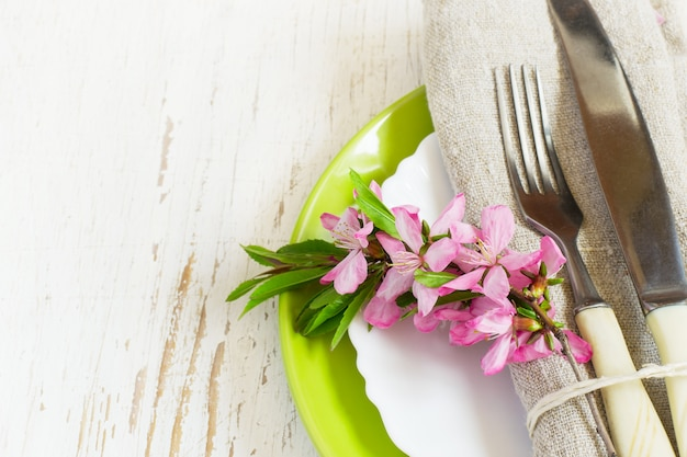 Spring table setting closeup