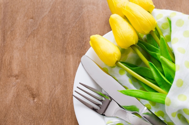Spring table setting for easter or mother's day
