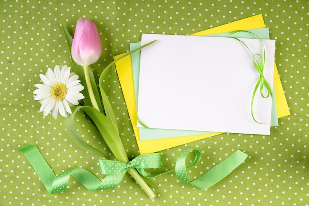 Spring theme greeting card with flowers
