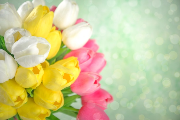 Spring tulip flowers background.