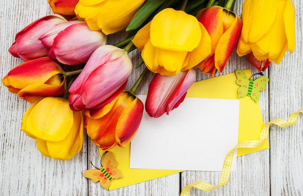 Spring tulips flowers and card