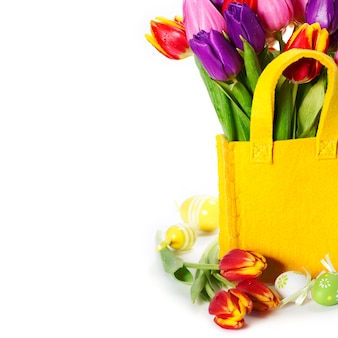 Spring tulips with easter eggs