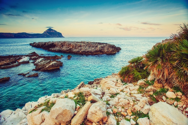 Spring view of the coast at sunset city trapani. sicily