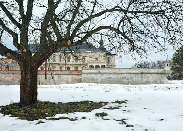 Весенний вид на старый подгорецкий замок (украина, львовская область, построенный в 1635-1640 годах по приказу польского гетмана станислава конецпольского)