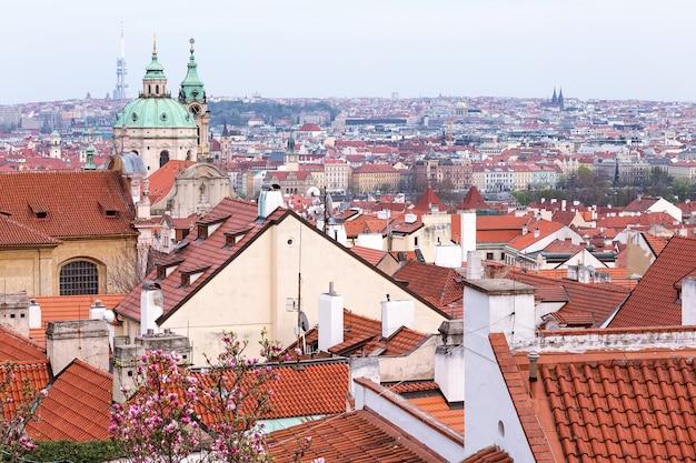 チェコ共和国の前景に咲くプラハの赤い屋根の春の景色
