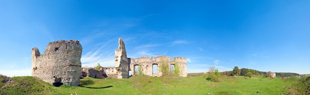 Spring view of sydoriv castle ruins (built in 1640s). sydoriv village,  located 7 km south of husiatyn, ternopil region, ukraine.  four shots stitch image.