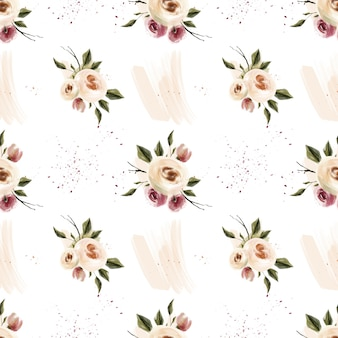 Spring watercolor blossom pink and coral flowers seamless pattern