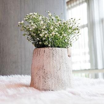 Spring white flowers in flower pot