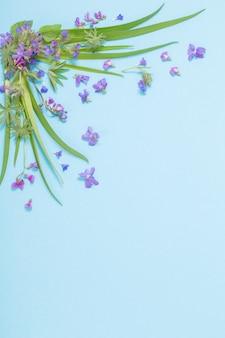 青い紙の表面に春の野花