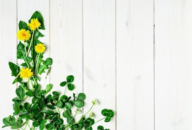 木製の白い表面に春の野花