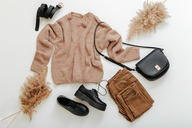 春冬秋の女性の衣装。ベージュブラウンカラーのファッションベーシックな女性服。ニットのセーターと葦のパンパの枝が付いたカジュアルなスタイルの布と靴。白地に平服。