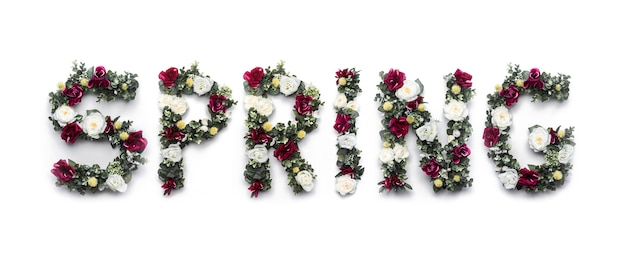 Spring word made of flowers on white