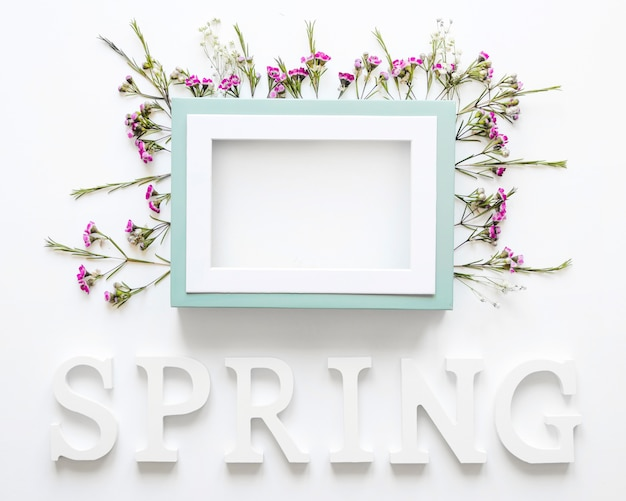 Spring writing under frame and flowers
