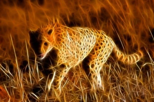 Sprinting cheetah abstract