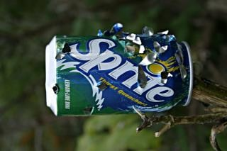 Sprite can with bullet holes, can