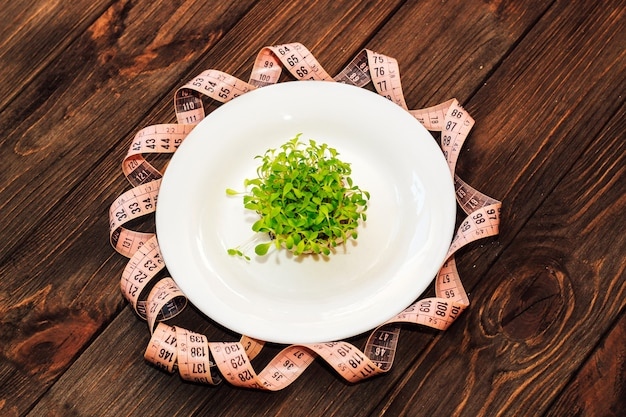 양상추의 싹이 튼 녹색은 센티미터의 둥근 흰색 마스크에 미세 녹색을 남깁니다.