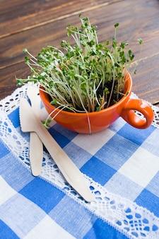 Ростки мини-зеленого цвета в оранжевой чашке и бамбуковая биоразлагаемая вилка и нож из натурального экологически чистого многоразового материала