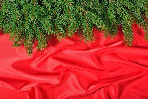 赤い背景の上のトウヒの枝をクローズアップ