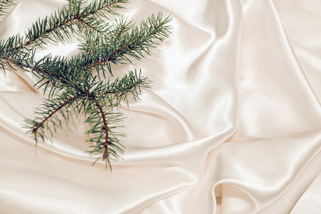 Spruce branch on shiny silk textured background.