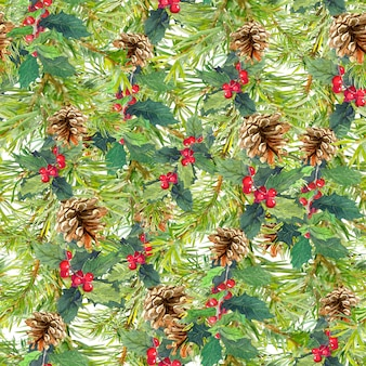 Spruce tree branches, cones, mistletoe. christmas seamless background. watercolor