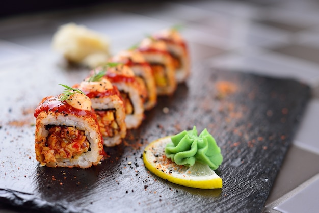 Spysi rolls with lemon and wasabi, japanese cuisine