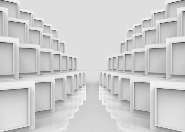 白いキューブボックスのスタックの行の壁の背景に現代sqaureパターン。