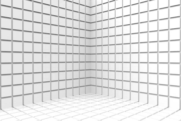 現代的な白いsqaureセラミックタイル壁コーナー背景